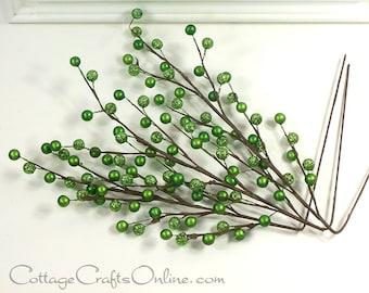 "Berry Spray, Green, Emerald Glitter - PACK of THREE - 18"" length - Darice, Christmas, St. Patrick's Craft, Floral Pick, Berry Stem"