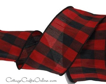"""Wired Ribbon, 2 1/2"""", Black, Red, Faux Silk Dupioni Check Plaid ~ TEN YARD ROLL ~ Abner Red 40 ~ Christmas Wire Edged Ribbon"""