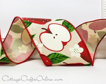 """Wired Ribbon,  2 1/2"""" wide, TEN YARD ROLL, Red Apples, Apple Blossoms ~Apple Slice ~ Spring, Summer, Fall Fruit Print Wire Edged Ribbon"""