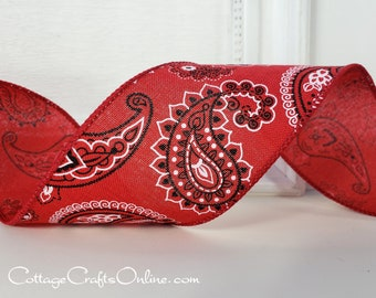 """Wired Ribbon, 2 1/2"""", Red and Black Bandana Print - THREE YARDS - Offray, """"Ranch"""" Summer, Paisley Western Craft  Wire Edge Ribbon"""