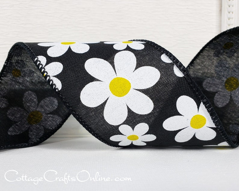 Wired Ribbon TEN YARD ROLL 2 1/2 wide White Daisy image 0