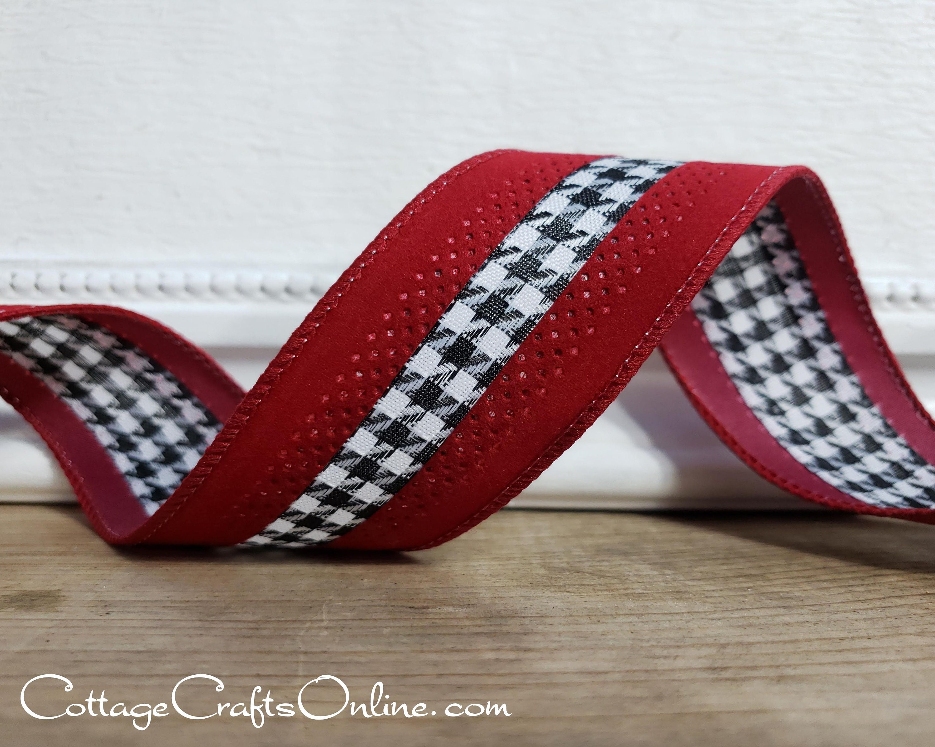 """10 Yards Gold Red Jester Harlequin Diamond Christmas Holiday Wired Ribbon 1 1//2/"""""""