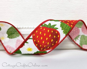 """Wired Ribbon, TEN YARD Roll, 1 1/2"""" wide, Red Strawberries Print, """"Strawberry White"""" Spring, Summer, Fruit Print Edged Ribbon"""