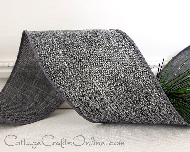 Wired Ribbon 2 1/2 Gray Heather Linen Look  TEN YARD image 0