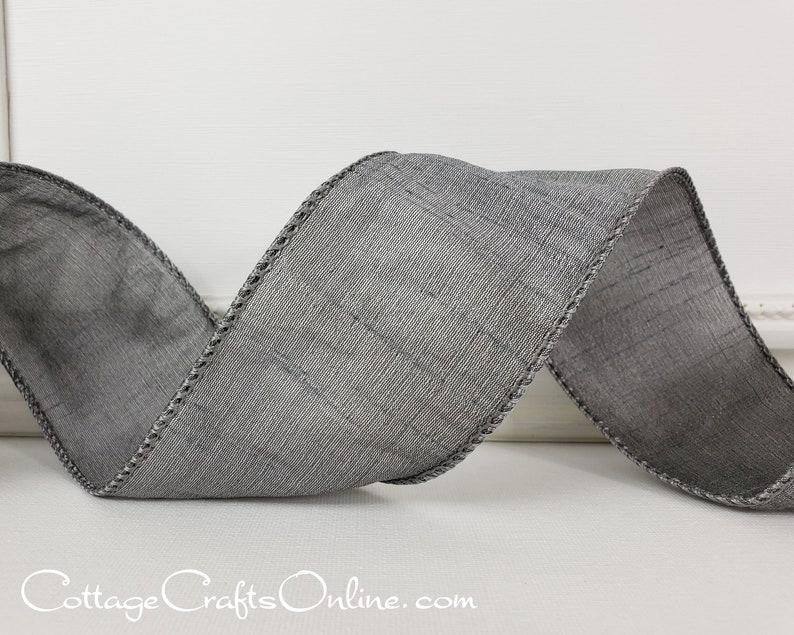 Wired Ribbon 2 1/2  Pewter Grey Faux Silk  TEN YARD image 0