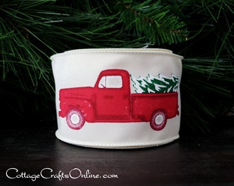 "Christmas Wired Ribbon, 2 1/2"", Red Truck, Christmas Tree - TEN YARD ROLL - ""Tree Truckin' "" Pick-up Truck, Farm Print, Wire Edged Ribbon"