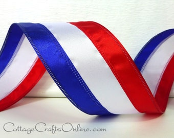 """Wired Ribbon, 2 1/2"""", Red, White and Blue Striped Satin - TEN YARD ROLL -  """"American Stripe"""" Patriotic, 4th of July, Memorial Day"""