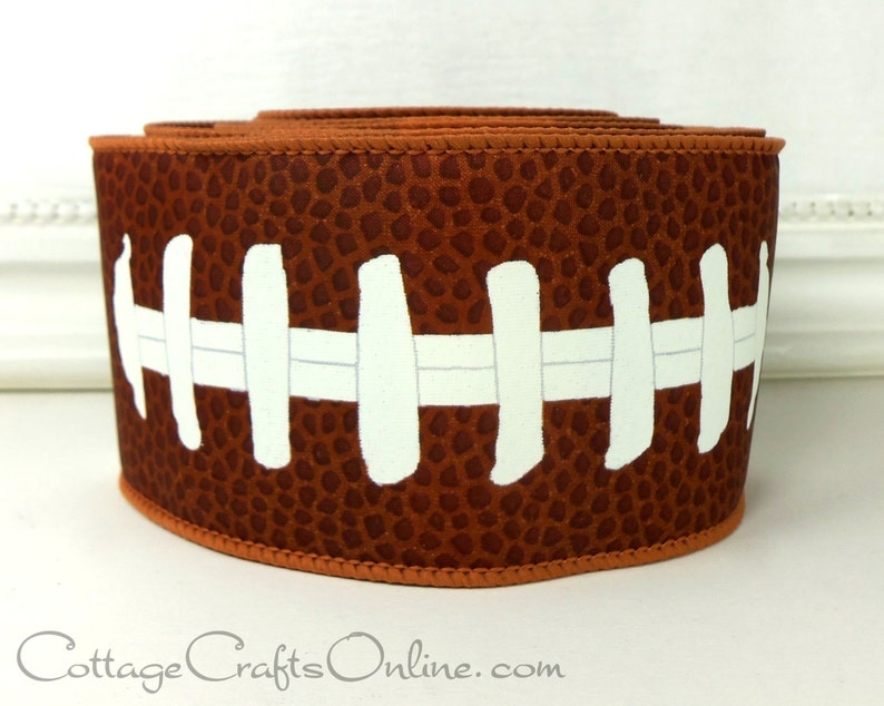 Wired Ribbon  2 1/2 wide  Football Sports Print  TEN image 0