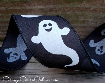 """Halloween Wired Ribbon, 2 1/2"""" White Ghosts on Black  - TEN YARD ROLL -  """"Theodore"""" Wire Edged Craft Ribbon"""