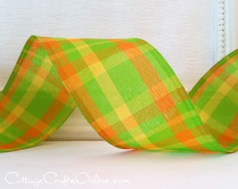"""Wired Ribbon, 2 1/2"""" Plaid, Green, Orange, Yellow - TEN YARD ROLL -  """"Green Apple Chic"""" Lime Spring, Summer, Easter Check Wire Edged Ribbon"""