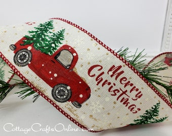 """Christmas Wired Ribbon, 2 1/2"""", Red Truck, Christmas Tree, Merry Christmas ~ THREE YARDS ~ Truck and Tree Cream ~  Wire Edged Ribbon"""