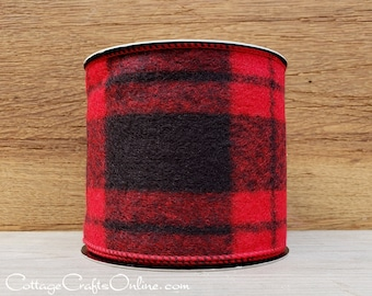 """d. Stevens Buffalo Plaid Wired Ribbon, 4"""" Red and Black Tartan Plaid Flannel - TEN YARD ROLL - """"Cabin Grand 2"""" Christmas  Check Wire Edged"""