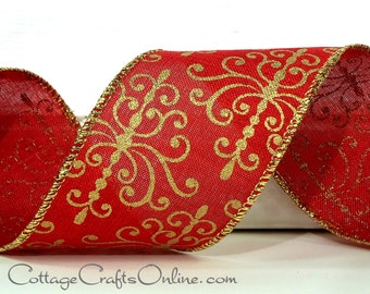 "Wired Ribbon, 2 1/4"",  Red with Metallic Gold, Faux Linen - THREE YARDS - Offray ""Palmyra Red"" Christmas, Valentine's Day Wire Edged Ribbon"