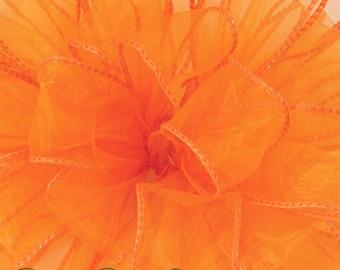 "Halloween Wired Ribbon, 1 1/2"", Pumpkin Orange Sheer - FIFTY YARD ROLL - Offray ""Sensations""  Spring, Summer Craft Wire Edged Ribbon"