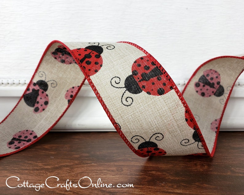 Wired Ribbon 1 1/2 Red Lady Bugs on Tan   TEN YARD ROLL image 0