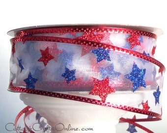 """Wired Ribbon 1 1/2"""" Patriotic Red, White and Blue Glitter Stars - THREE YARDS - Offray """"Starburst"""" July 4th, Independence Wire Edge Ribbon"""