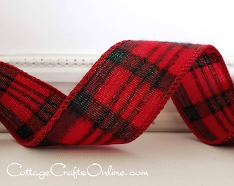 """Christmas Wired Ribbon, 1 1/2"""", Red, Dark Emerald Green Check Plaid Flannel ~ TEN YARD ROLL ~ McAvoy ~ Forest Green Tartan Wire Edged Ribbon"""