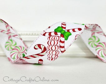 """Christmas Wired Ribbon, 1 1/2"""", Peppermints, Candy Canes, Glitter - THREE YARDS  -  Offray ~ Christmas Mints ~ Red, White Wire Edge Ribbon"""