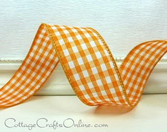 """Wired Ribbon 1 1/2"""", Orange and White Gingham Check Plaid - THREE YARDS  - Offray,  Summer, Spring, Easter, Halloween Wired Edge Ribbon"""