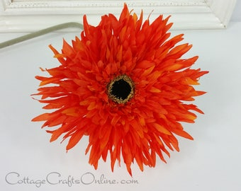 "Orange Gerbera, Spider Mum, 6"" long, 20"" long,  Silk Flower Pick,  Artificial Flower, Faux Flower Halloween, Fall, Spring Flower"
