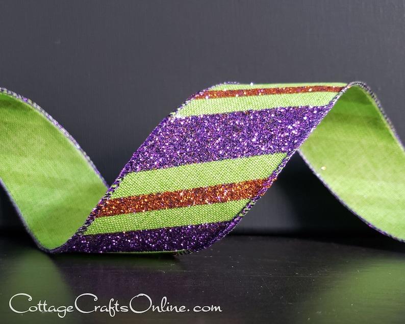 Wired Halloween Ribbon 1 1/2 TEN YARD ROLL Purple image 0