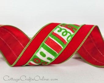 """Christmas Wired Ribbon, 2 1/2"""",  Red Velvet, Loopy Stripe Center - TEN YARD ROLL ~ Velvet Loop ~ Wire Edged Ribbon"""