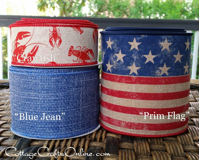 Wired Ribbon 4 Red White Blue American Flag Print TEN | Etsy