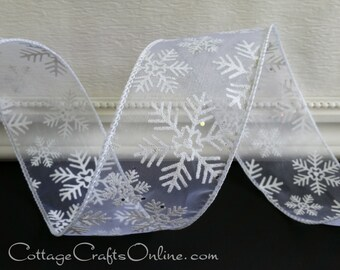 "Wired Christmas Ribbon, 2 1/2"", White Sheer Silver Snowflakes Glitter, FIVE & 5/6 YARDS - Offray ""Blizzard"" #70101 Craft Wire Edge Ribbon"