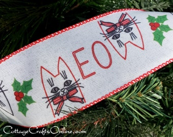 """d. Stevens Christmas Wired Ribbon, 2 1/2"""" Meow Cat Print on White  - TEN YARD ROLL - Animal, Pet Craft Wire Edged Ribbon"""