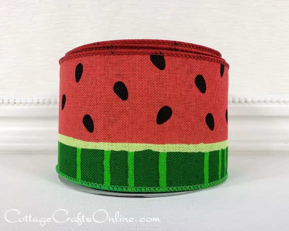 "10 Yards Watermelon Pink Green Whole Slices Summer Fruit Wired Ribbon 2 1//2/""W"