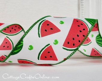 """Wired Ribbon, TEN YARD ROLL, 2 1/2"""" wide, Pink, Green, Watermelon Print, """"Summer Slice 40"""" Spring, Summer, Fruit Print Wire Edged Ribbon"""