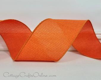 "Fall Wired Ribbon, 2 1/2"", Orange Open Cross Weave - TEN YARDS  ~ Orange Hopsack ~ Halloween, Thanksgiving, Spring Wire Edged Ribbon"