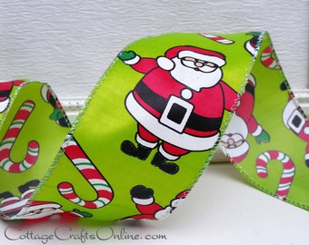 "Christmas Wired Ribbon, 2 1/2"",  Santa, Candy Canes Glitter - TEN YARD Roll, ""Santa Candy Cane"" Lime Green Wire Edged Ribbon"
