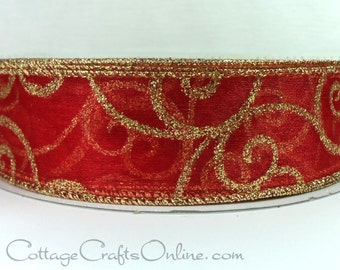 "Christmas Wired Ribbon, 1 1/2"" wide, Red Sheer with Gold Glitter Filigree Swirl Scroll - THREE YARDS - Valentine's Day Red Wire Edged Ribbon"