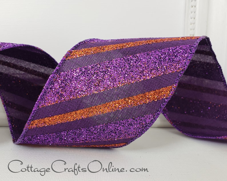 Halloween Wired Ribbon 2 1/2 Glittered Purple and image 0