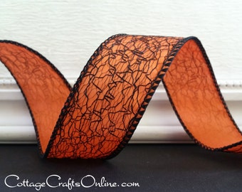 "Halloween Wired Ribbon, 1 1/2"" wide,  Spider Web Black on Orange - THREE YARDS - Offray Ribbon ""Cobwebs"" Spooky Wire Edged Ribbon"