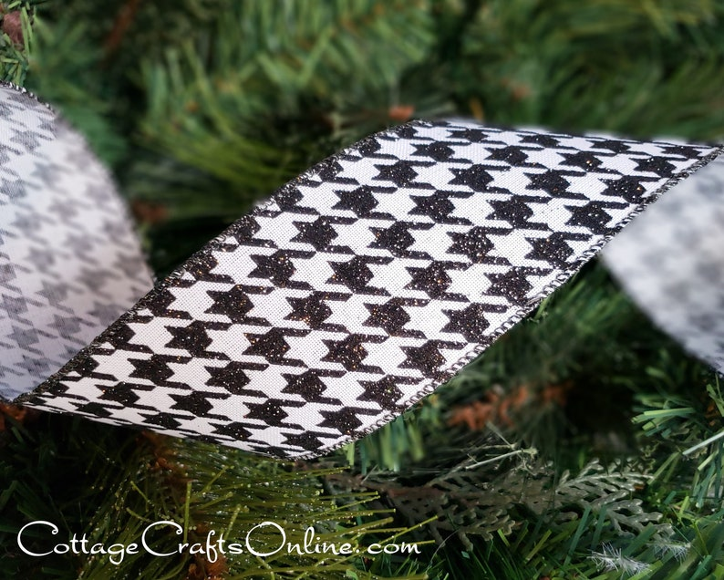 Christmas Wired Ribbon 2 1/2  Black and White Glitter image 0