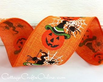 "Halloween Wired Ribbon, 2 1/2"", Jack O'Lantern Witch, Spider, Orange Linen Style - THREE YARDS - Offray ""Witch Jack"" Wire Edged Ribbon"