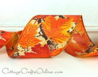 Fall Wired Ribbon, 2 1/2 wide, Orange Maple Leaf Pattern - THREE YARDS ~ Allegheny 40 ~ Autumn, Thanksgiving Craft Wire Edged Ribbon