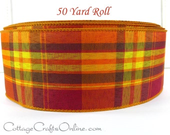 """Wired Ribbon 2 1/2""""  Fall Plaid Orange, Yellow, Brown, Red - FIFTY YARD ROLL -  """"Abundance"""" Thanksgiving Autumn Craft Wired Edge Ribbon"""
