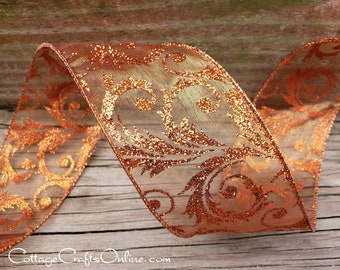 """Christmas Wired Ribbon, 2 1/2"""" Copper Sheer Glitter Filigree Scroll - THREE YARDS - Offray """"Eris""""  Fall, Thanksgiving Wire Edged Ribbon"""