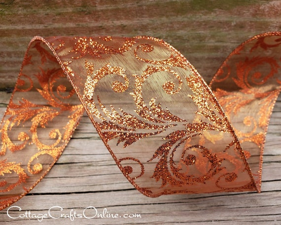 "2 Yds Ornate Glitter Design Copper Wired Ribbon 2 1//2/""W"
