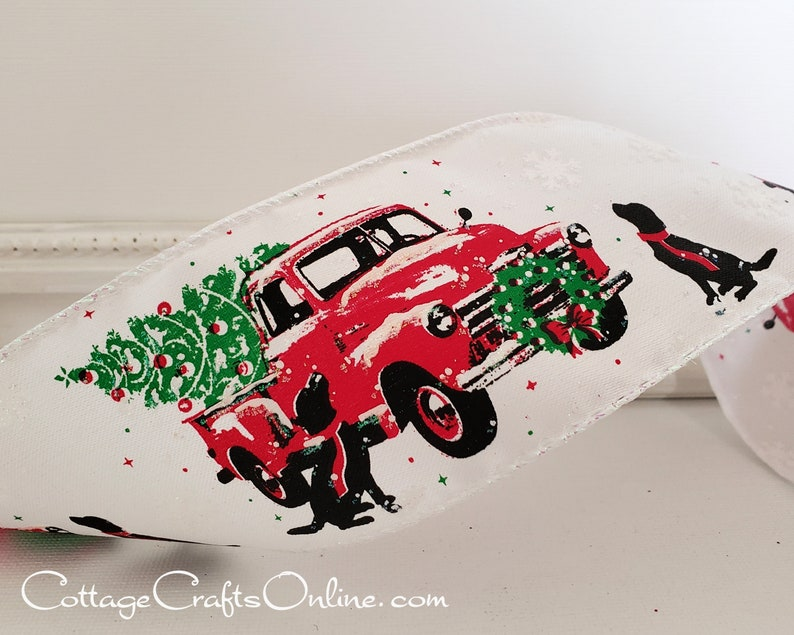 Christmas Wired Ribbon 2 1/2 Black Dogs Red Truck image 0