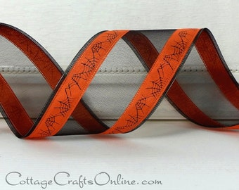 "Halloween Wired Ribbon, 2 1/2"" Black Sheer, Orange Satin, Spider Web - TWENTY FIVE YARD Roll -  ""Web Sheer""  Wire Edged Ribbon"