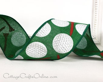 """Wired Ribbon,  2 1/2"""",  Golf Balls, Tees Print - TEN YARD ROLL -  Red Tees, Green Faux Linen Sports  Wire Edged Ribbon"""