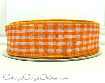"""Wired Ribbon 1 1/2"""", Orange White Gingham Check Plaid, FIFTY YARD ROLL, Offray - Summer, Spring, Easter, Wreath, Halloween Wired Edge Ribbon"""