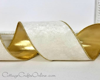"""Christmas Wired Ribbon, 2 1/2""""  Ivory Velvet, Gold Metallic Back - TEN YARD ROLL - Offray ~ Marlowe ~ Holiday Wire Edged Ribbon"""
