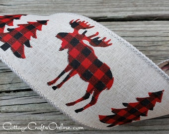 "Christmas Wired Ribbon, 2 1/2"", Moose, Trees Buffalo Plaid on Linen Style - THREE YARDS - Offray ""Miltona"" Winter, Holiday Wire Edged Ribbon"