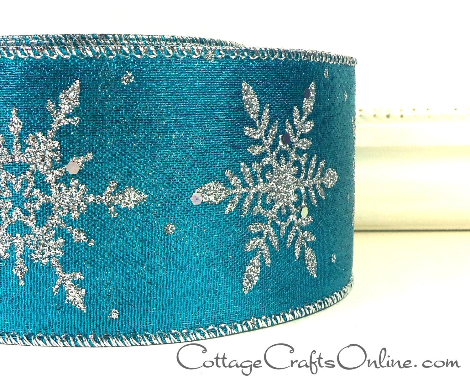 "Wired Wire Edge Christmas Ribbon  Blue Silver glitter starburst 2.5/"" wide x 3m"