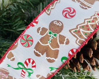 """Christmas Wired Ribbon, 2 1/2"""", Gingerbread Man, Tree, Candy Cane - THREE YARDS - Offray, """"Gingerbread Fun"""" Wire Edged Ribbon"""